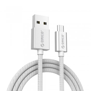 Orico EDC-10 1m Strong Nylon Braided Micro USB Fast Charging Data Cable - Silver