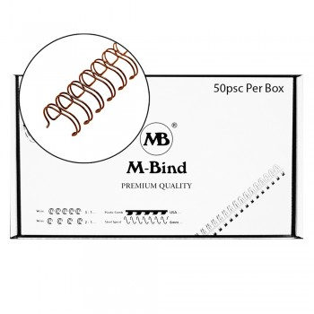 "M-Bind Double Wire Bind 2:1 A4 - 1""(25.4mm) X 23 Loops, 50pcs/box, Bronze"