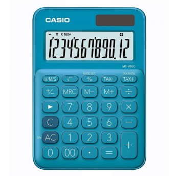 Casio Colourful Calculator - 12 Digits, Solar & Battery, Tax & Time Calculation, Blue (MS-20UC-BL)