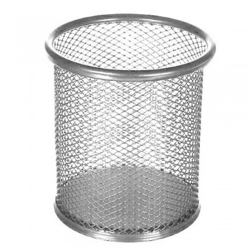 Pen Holder Round Mesh Pen Pot - Silver (Item No: B01-24SL) A1R2B23