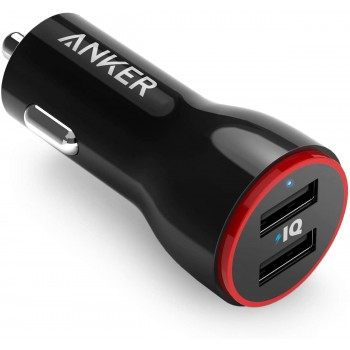 Anker A2310 PowerDrive 2 24W Dual USB Car Charger for Apple iPhone, Apple iPad, Samsung Galaxy, Samsung Note, LG, Nexus, HTC and More (Black)